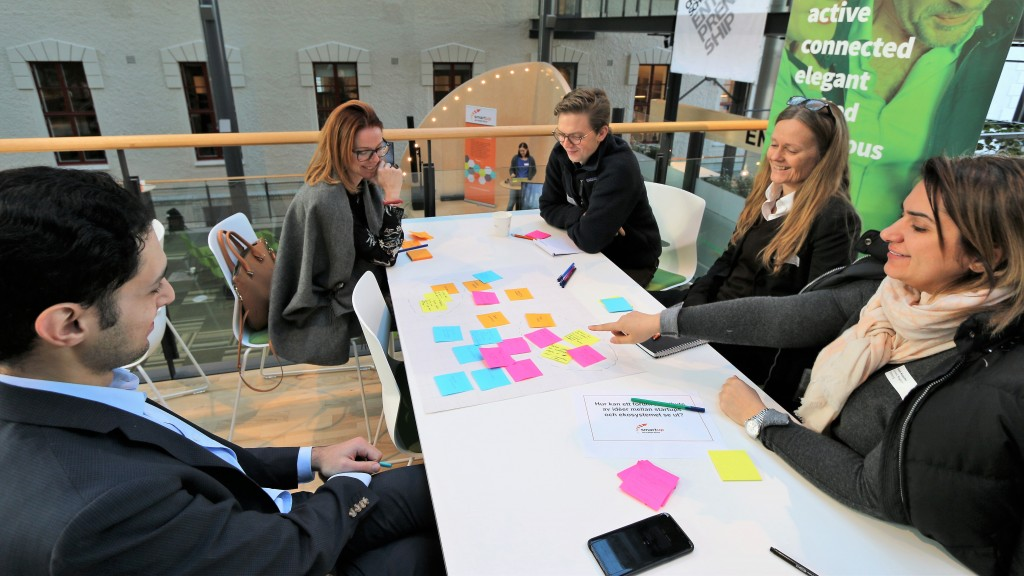 Participants in the smart homes seminar gathered around a table for a workshop and used post-its in their idea generation